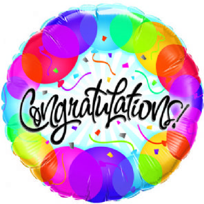 Congratulations Colourful Streamers  Foil Helium Balloon